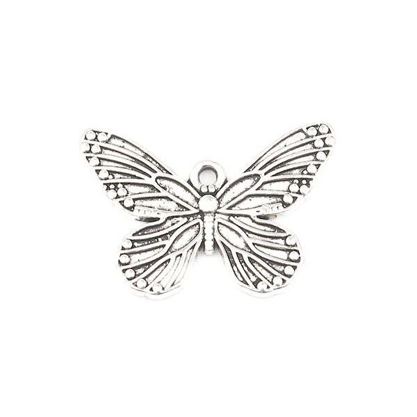 PS110256867 PAX de 10 pendentifs Papillon 30 mm métal coloris Argent Antique - Photo n°1