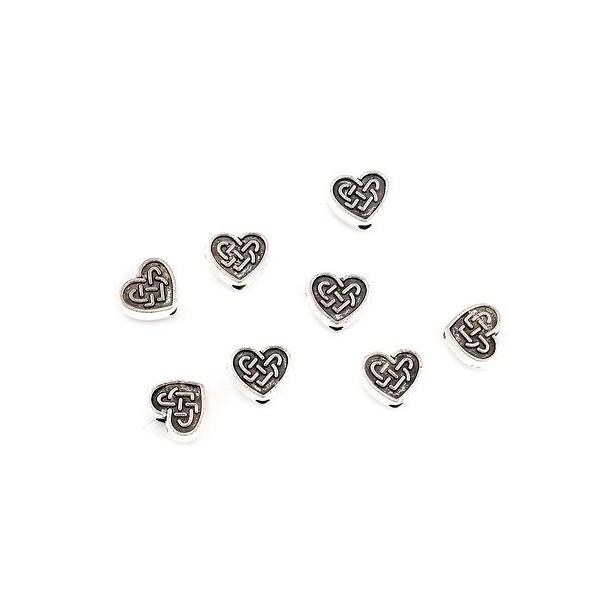 PS110117676 PAX 25 passants, perles intercalaires Coeurs Entrelacs 9mm métal coloris Argent Antique - Photo n°1