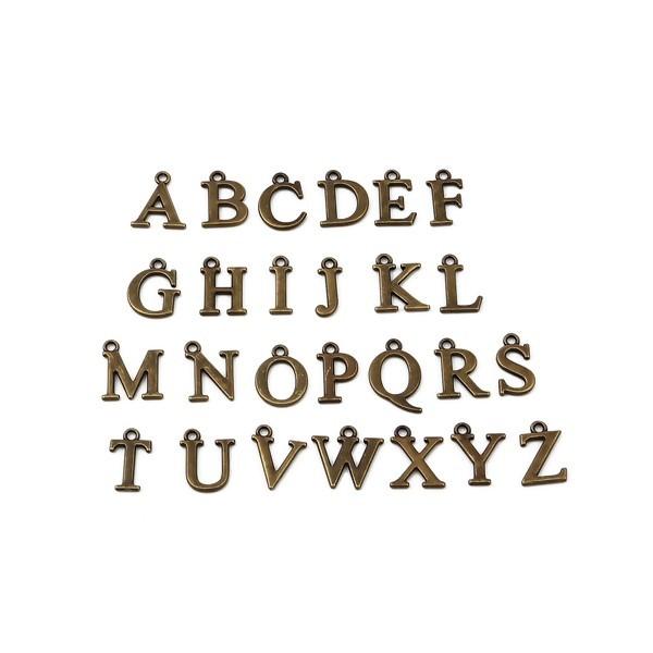 S110258899 PAX 26 Pendentifs Breloques Alphabet 16mm métal couleur Bronze - Photo n°1
