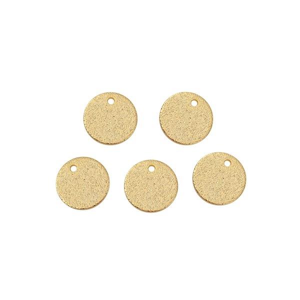PS110113641 PAX 10 Pendentifs Medaille Stardust Effet Pailllettes Rondes 8mm cuivre coloris Doré - Photo n°1