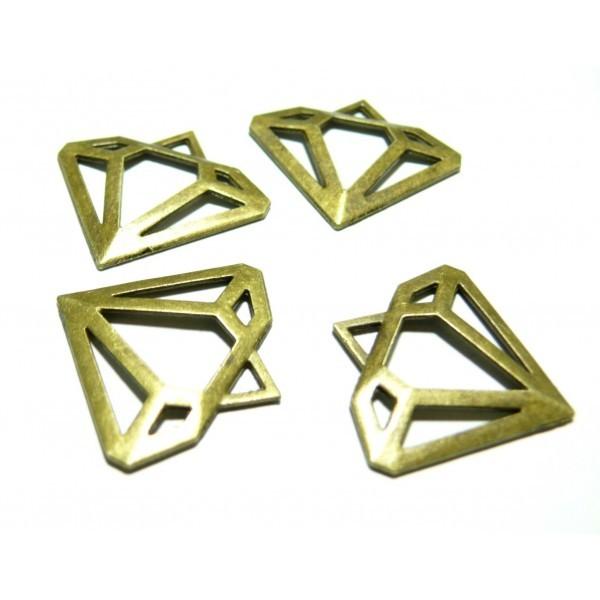 Lot de 10 pendentifs Diamants métal coloris Bronze 2B8936 - Photo n°1