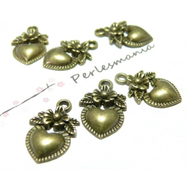 Lot de 20 pendentifs coeurs fleur métal coloris Bronze 2D2604 - Photo n°1