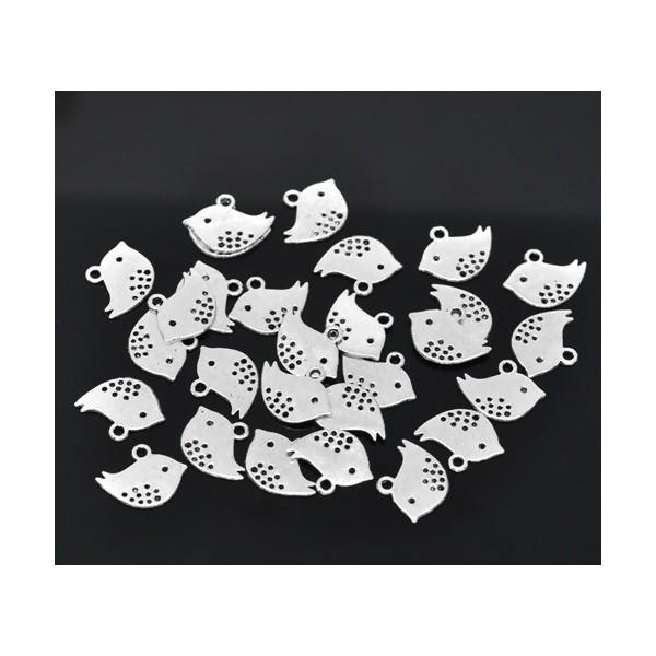 Lot de 25 pendentifs OISEAU métal coloris Argent Platine ( S113684 ) - Photo n°1