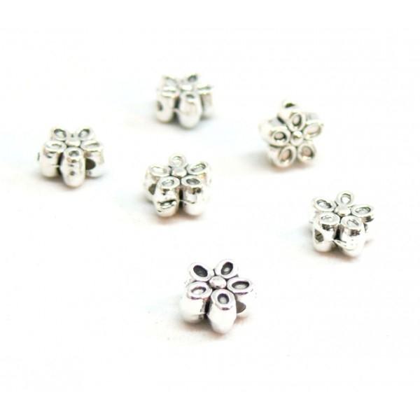 Perles Intercalaires Fleurs 7mm métal coloris Argent Antique PS1100080 - Photo n°1