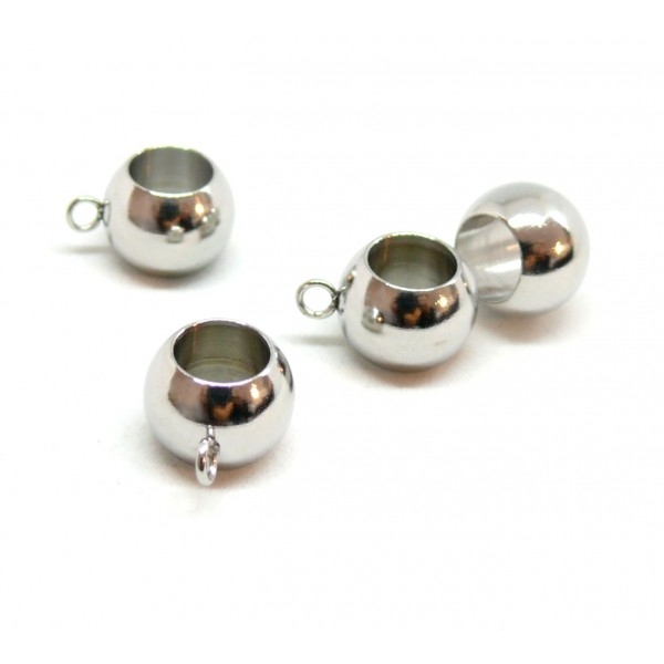 BU200507155238 PAX 10 pendentifs bélières Lisse 10mm en Acier Inoxydable 304 - Photo n°1