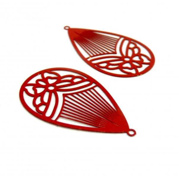 AE116003 Lot de 4 Estampes pendentif filigrane Papillon Medaillon Goutte 45mm métal couleur Rouge - Photo n°1