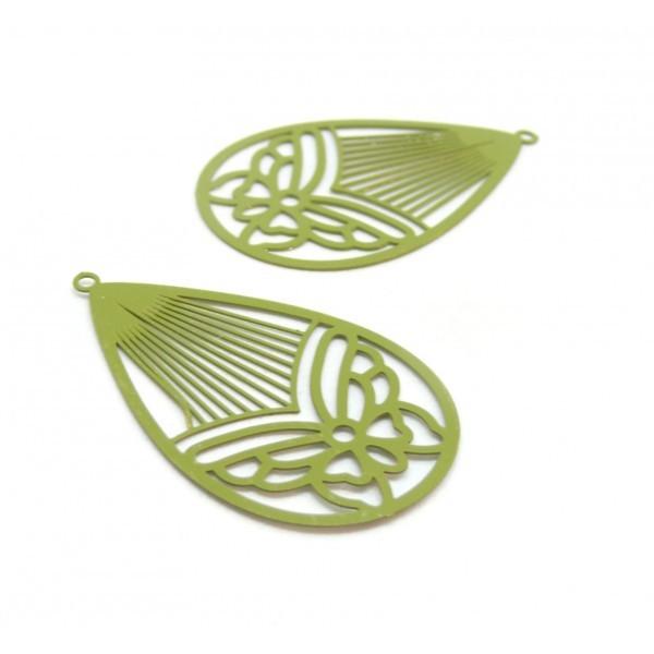 AE116003 Lot de 4 Estampes pendentif filigrane Papillon Medaillon Goutte 45mm métal couleur Kaki - Photo n°1