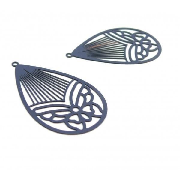 AE116003 Lot de 4 Estampes pendentif filigrane Papillon Medaillon Goutte 45mm métal couleur Gris Bl - Photo n°1