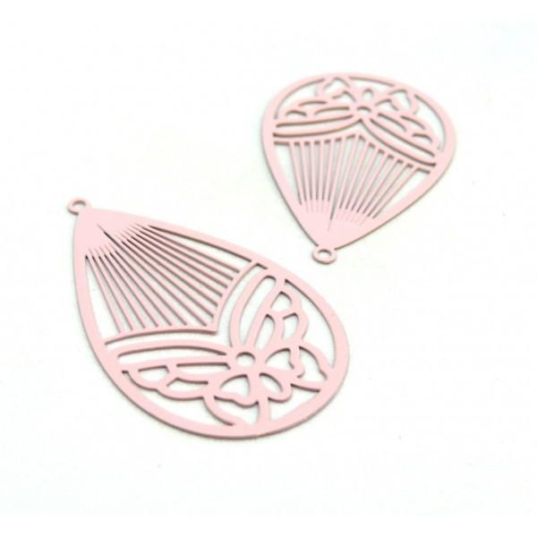 AE116003 Lot de 4 Estampes pendentif filigrane Papillon Medaillon Goutte 45mm métal couleur Rose Pa - Photo n°1