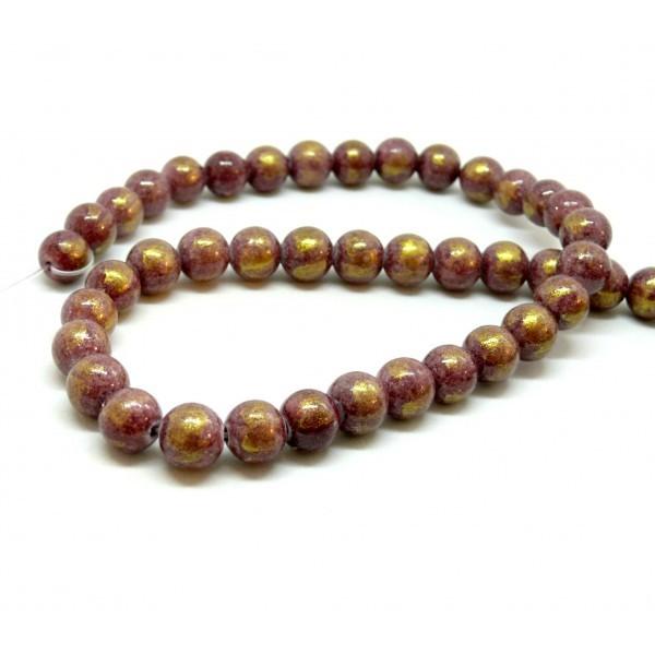 1 fil d'environ 60 perles Jade Mashan Grenat mordoré 6mm H23201E - Photo n°1