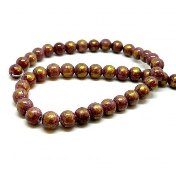 1 fil d'environ 48 perles Jade Mashan Grenat mordoré 8mm H23201E - Photo n°1