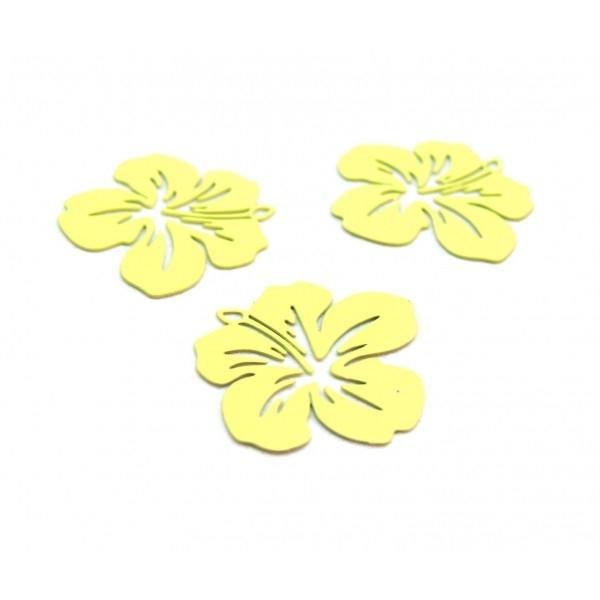 AE11556 Lot de 4 Estampes pendentif filigrane Fleur d' Hibiscus 20 mm Jaune - Photo n°1