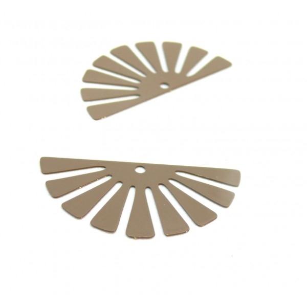 AE11588 Lot de 4 Estampes pendentif filigrane demi Soleil Eventail Beige Taupe 18 par 35 mm - Photo n°1