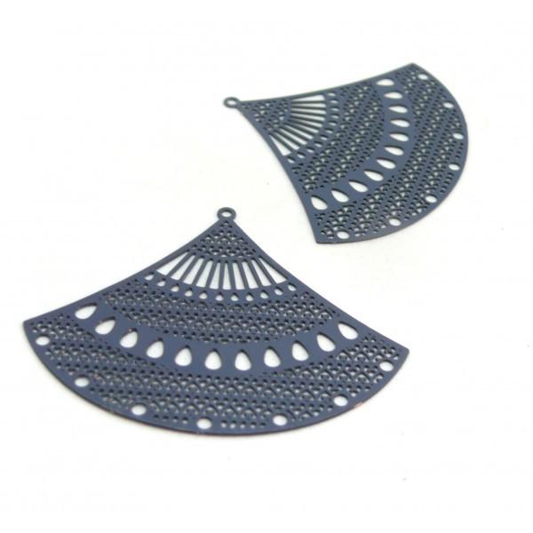 AE114297 PAX de 2 Estampes pendentif filigrane Grand eventail 40mm cuivre couleur Bleu Gris - Photo n°1