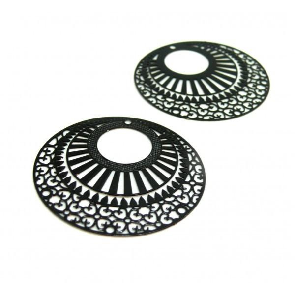 AE113654 Lot de 2 Estampes pendentif filigrane 38mm métal couleur Noir - Photo n°1