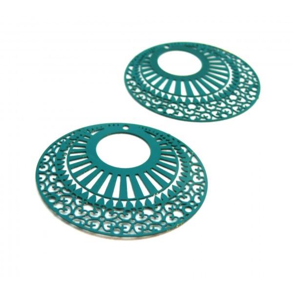 AE113654 Lot de 2 Estampes pendentif filigrane 38mm métal couleur Bleu Canard - Photo n°1