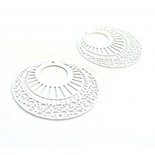 AE113654 Lot de 2 Estampes pendentif filigrane 38mm métal couleur Blanc - Photo n°1