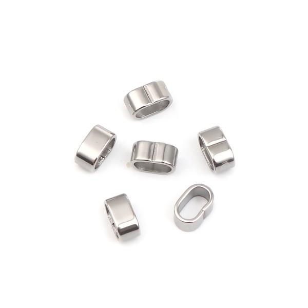 PS110256623 PAX: 10 perles Intercalaire Rondelle Rectangle 10 par 5 mm Acier Inoxydable 304 - Photo n°1