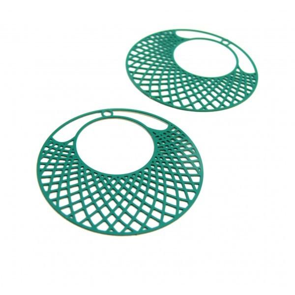 AE112897 Lot de 2 Estampes pendentif filigrane Cercle travaillée 41mm métal couleur Bleu Canard - Photo n°1