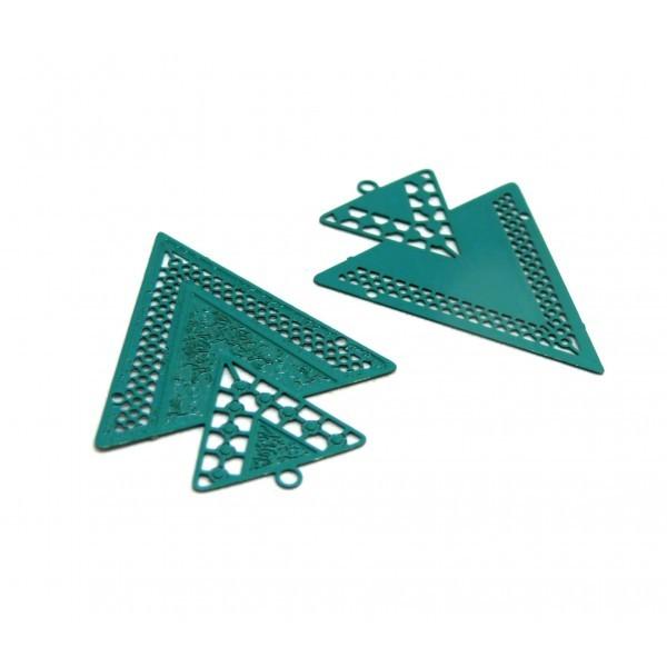 AB113335 Lot 4 Estampes pendentif Geometrique Double Triangle de 40mm Bleu Canard - Photo n°1