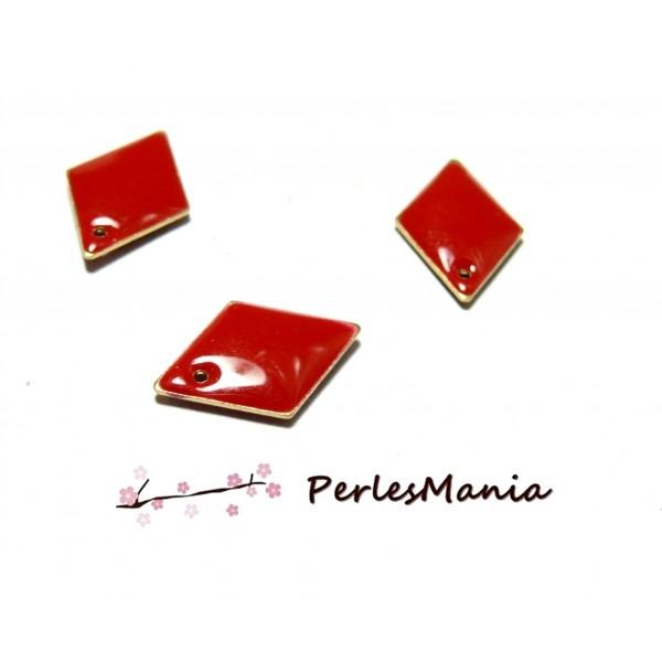 PS1191537 PAX 5 sequins médaillons émaillés biface LOSANGE 16 par 11mm Rouge base dorée - Photo n°1