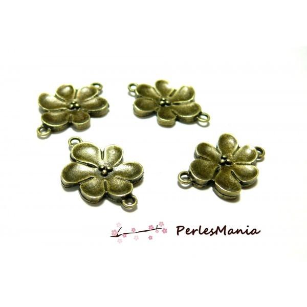 Lot de 20 connecteurs fleurs métal coloris bronze ref 198 - Photo n°1