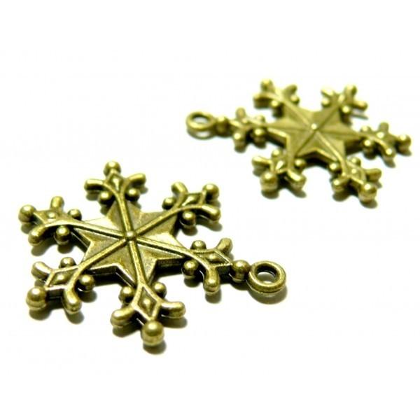 Lot de 10 pendentifs étoiles de neige métal Coloris Bronze 2D4402 - Photo n°1