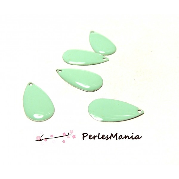 Lot de 10 Sequins EMAILLES Forme Goutte d 'eau Vert Pastel 21mm A071 - Photo n°1
