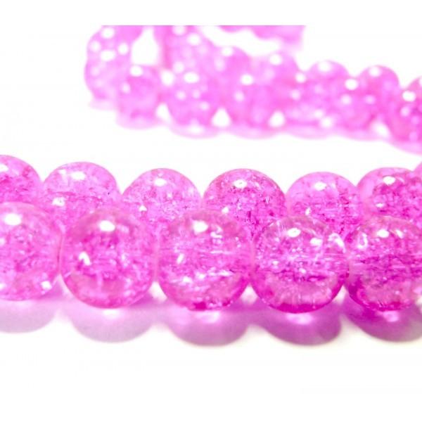 Lot 1 fil d' environ 120 perles Rondes 6mm de verre craquelé Rose 2G5615 - Photo n°1
