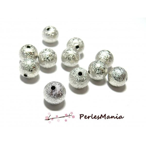 PS1101303 PAX 25 perles intercalaires stardust granitees paillettes 8mm cuivre couleur Argent Vif - Photo n°1