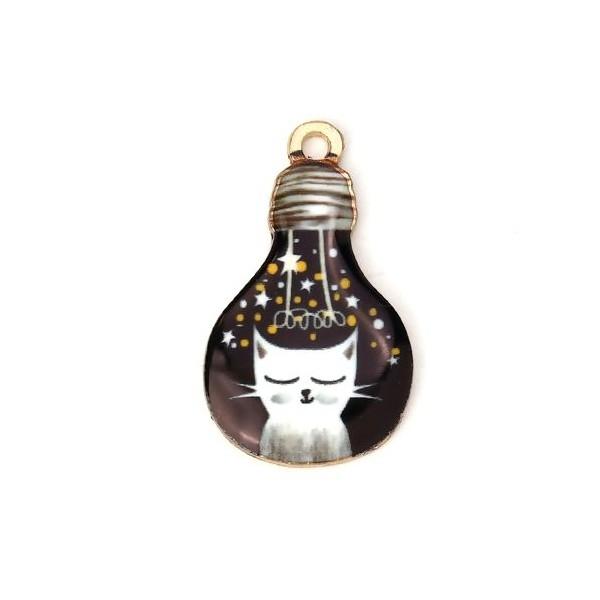 PS110115269 PAX 5 pendentifs résine style émaillés Chat dans Ampoule sur une base en métal dore - Photo n°1
