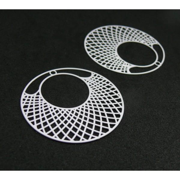 AE112897 Lot de 2 Estampes pendentif filigrane Cercle travaillée 41mm métal couleur Blanc - Photo n°1