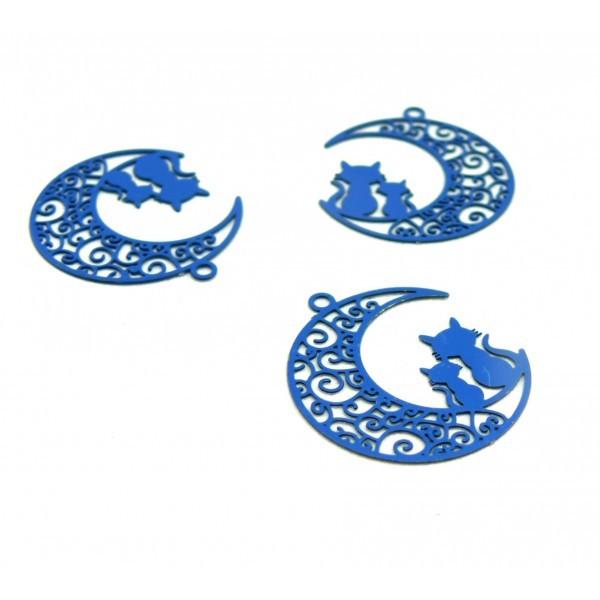 AE116189 Lot de 4 Estampes pendentif filigrane Chats et Lune Bleu 20 par 25mm - Photo n°1