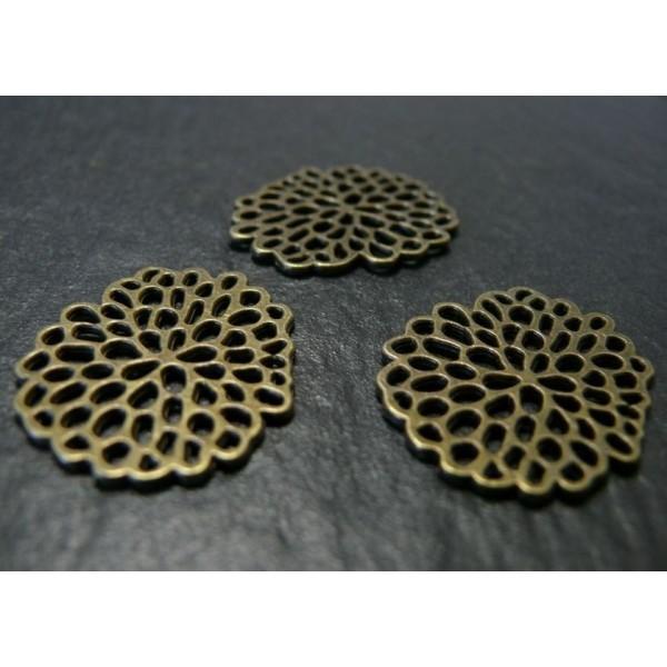 Lot de 5 pendentifs, connecteurs métal coloris Bronze Racine de lotus G25 - Photo n°1