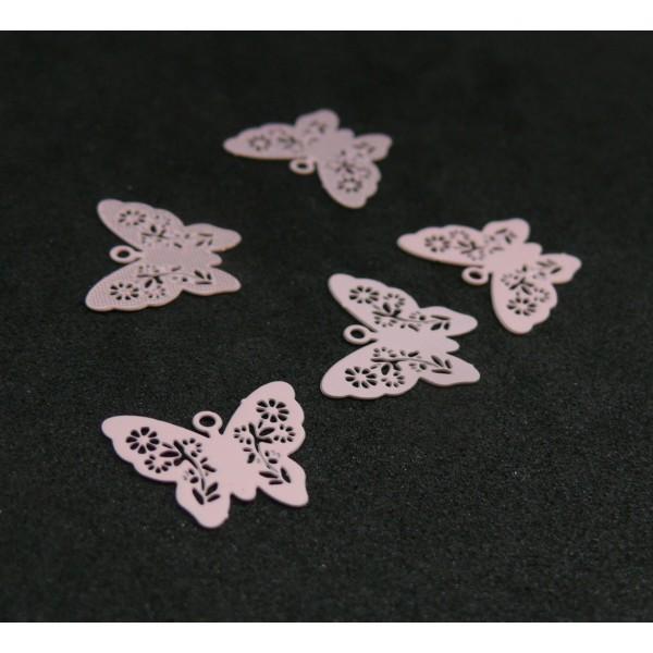 AE112861 Lot de 6 Estampes pendentif connecteur filigrane Papillon Rose Clair 14mm - Photo n°1