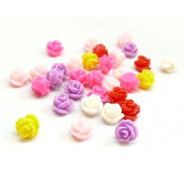 H781YBis PAX 50 cabochons petites fleur 6mm Résine multicolores - Photo n°1
