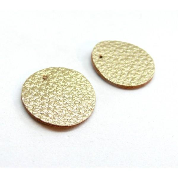PAX 10 pendentifs ronds simili cuir 15mm couleur Champagne PS110159055 - Photo n°1