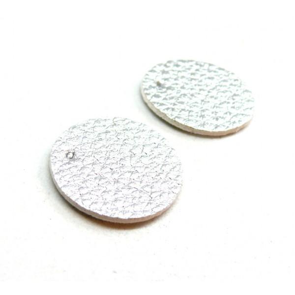 PAX 10 pendentifs ronds simili cuir 20mm couleur Argent PS110159062 - Photo n°1
