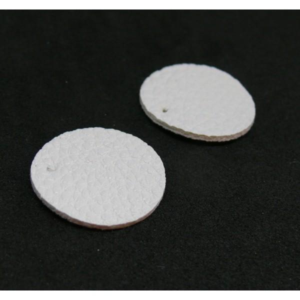 PAX 10 pendentifs ronds simili cuir 15mm couleur Blanc PS110159056 - Photo n°1