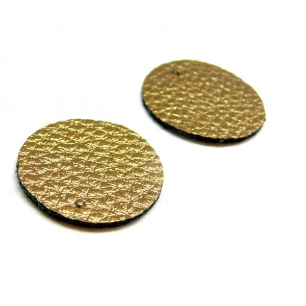 PAX 10 pendentifs ronds simili cuir 20mm couleur marron Bronze PS110159058 - Photo n°1