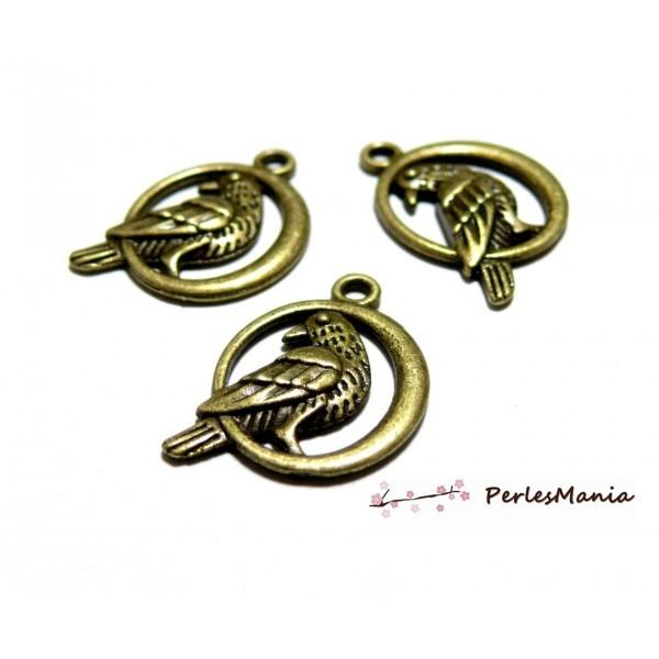 Lot de 20 breloques pendentif Oiseau métal couleur Bronze 2Y8733 - Photo n°1