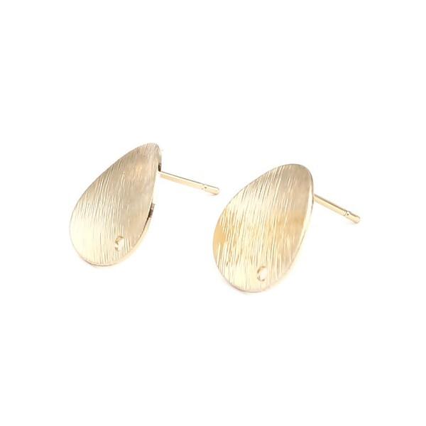 PS11665525 PAX: 1 Paire de Boucles d'oreille puce Martelé 15mm avec trou metal coloris Doré et embo - Photo n°1