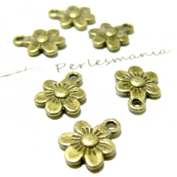 Lot de 20 pendentifs petites fleurs métal coloris Bronze 2D1553 - Photo n°1
