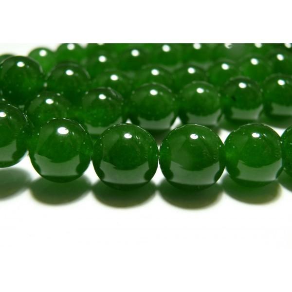 Apprêt bijoux 5 perles 10mm jade teintée couleur vert - Photo n°1