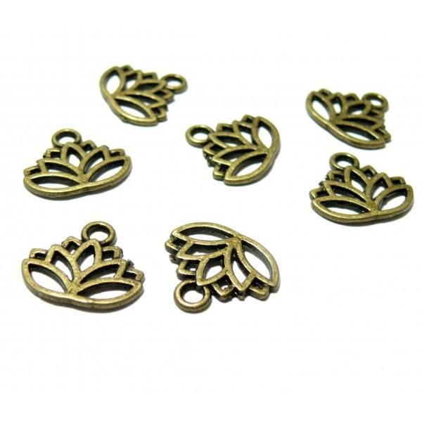 H1130126 PAX 25 pendentifs breloque Fleur de Lotus couleur Bronze - Photo n°1