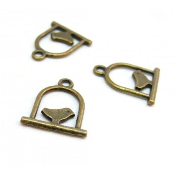 P3160 Lot de 20 pendentifs, breloques oiseaux cage perchoir Petit Modèle métal coloris Bronze - Photo n°1