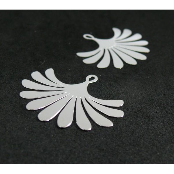 AE115854 Lot de 2 Estampes pendentif filigrane Eventail Argent Vif 29 par 35 mm - Photo n°1