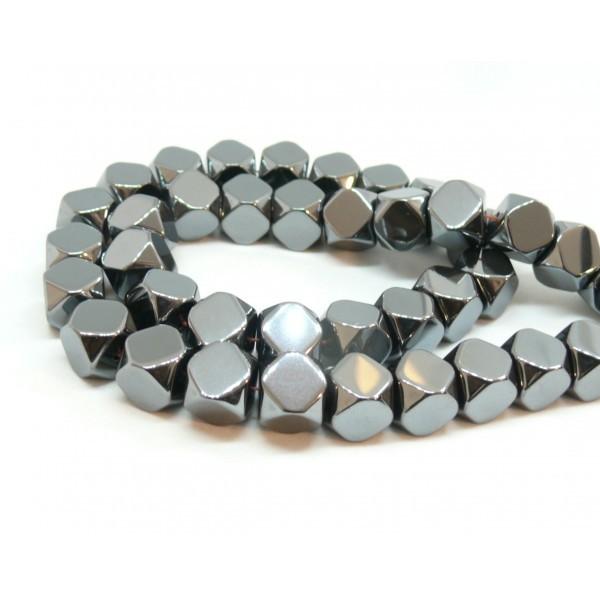 1 fil d'environ 50 perles Hématite Forme Polygone 8mm Gris metallisé 150710141038 - Photo n°1