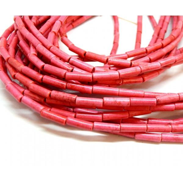 HG120413 Lot 1 fil d'environ 30 tubes turquoise reconstituées 4 par 13mm Rose coloris 16 - Photo n°1