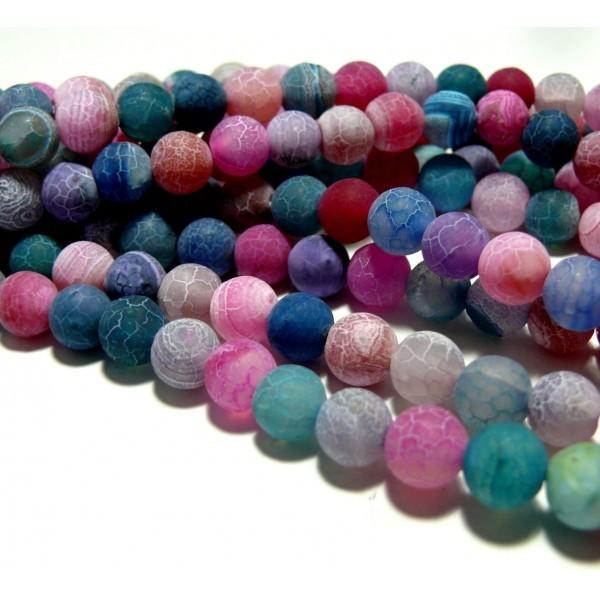 HG589 1 fil: environ 90 perles 4mm Agate craquelé effet givre multicolore coloris 17Bis - Photo n°1